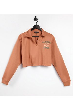 Missguided Polo sweatshirt with north shore graphic in tan