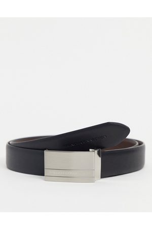 French Connection Rectangle reversible belt in and brown