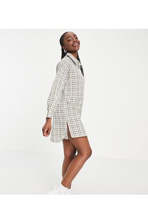 Missguided Check dip back oversized shirt dress