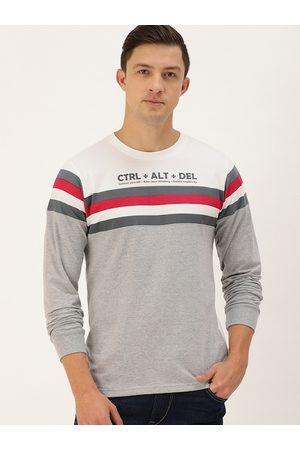Difference of Opinion Men White & Grey Melange Colourblocked Round Neck Cotton T-shirt