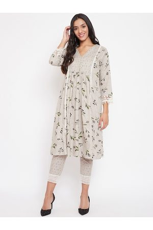 The Kaftan Company Women Grey Printed Kurti with Trousers