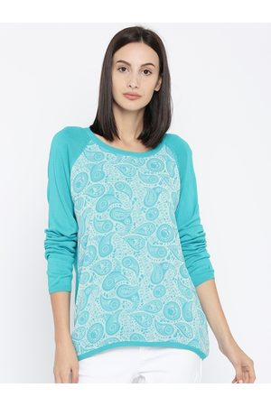 Pantaloons Women Turquoise Blue Printed Pullover Sweater
