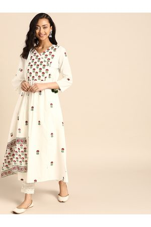 Varanga Women White & Maroon Ethnic Motifs Printed Pure Cotton Angrakha Kurta With Dupatta