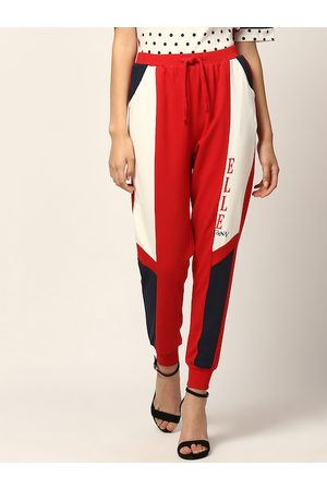 Elle Women Red & Off-White Colourblocked Straight-Fit Joggers