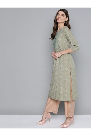 HERE&NOW Women Green & Beige Geometric Pure Cotton Thread Work Kurta