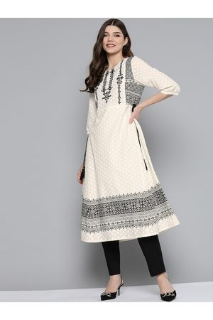 HERE&NOW Women Off White & Black Ethnic Motifs Printed Pure Cotton Thread Work Kurta