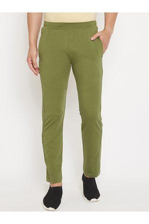 Okane Men Green Solid Track Pants