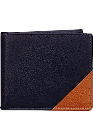 ABYS Men Navy Blue & Tan Textured Two Fold Leather Wallet