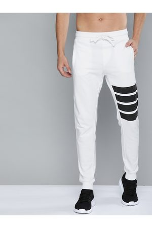 HARVARD Men White Straight Fit Solid Joggers with Striped Detail