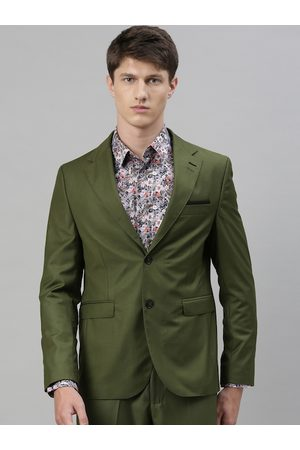 RARE RABBIT Men Olive Green Solid Single Breasted Blazer