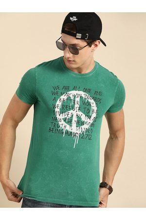 Being Human Men Green Printed Round Neck T-shirt
