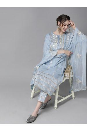 Ishin Women Blue & Silver Pure Silk Striped Kurta Set with Gotta Patti Detail