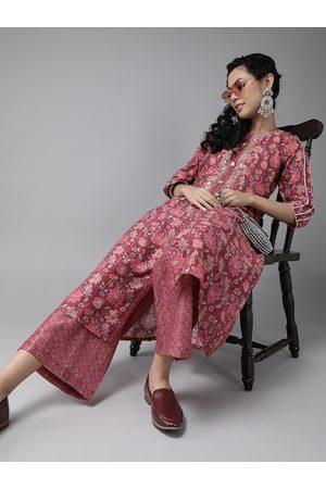 Ishin Women Pink & Beige Printed Pure Silk Gotta Patti Kurta with Palazzos