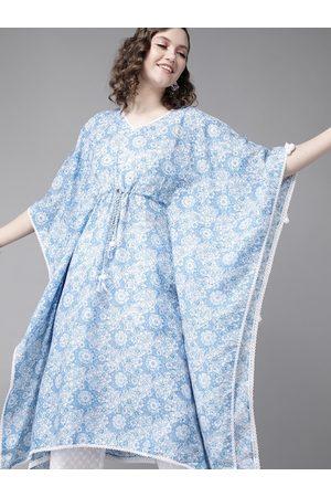 Ishin Women Blue & White Floral Block Print Cotton Kaftan Kurta with Trousers