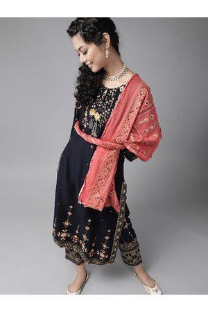 Ishin Women Navy Blue & Peach-Coloured Mirror Work Kurta with Trousers & Dupatta