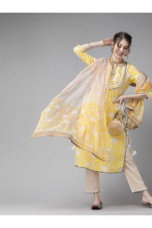 Ishin Women Yellow & Off-White Pure Cotton Printed Kurta with Trousers & Dupatta