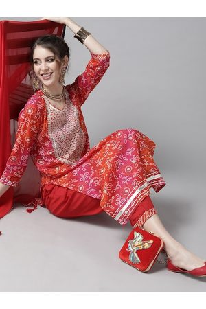 Ishin Women Red & White Printed Cotton Bandhani Kurta Palazzos & Dupatta with Zari