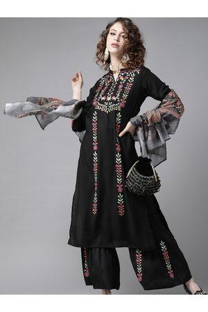 Ishin Women Black & Pink Embroidered Kurta with Palazzo & Dupatta