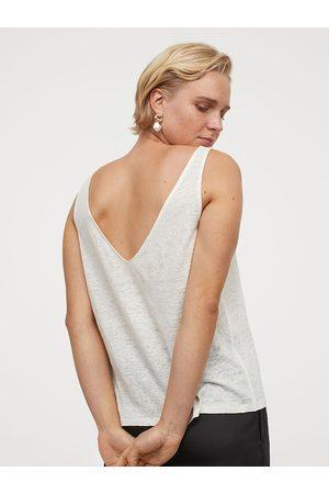 H&M Women White Linen Vest Top