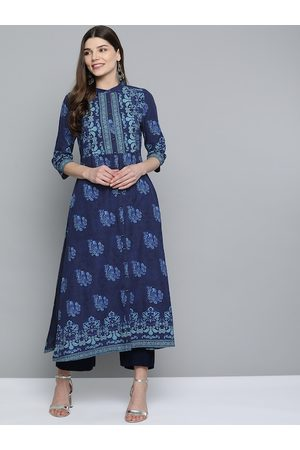 HERE&NOW Women Navy Blue Ethnic Motifs Pure Cotton A-Line Kurta