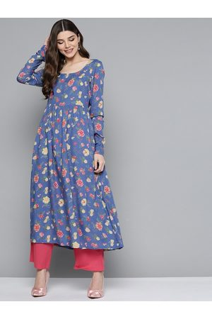 HERE&NOW Women Blue & Peach-Coloured Floral Printed Floral Kurta