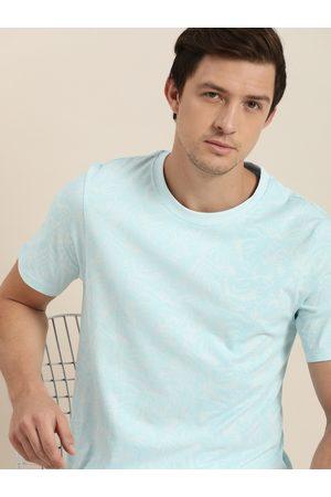 Invictus Men Blue Printed Round Neck Pure Cotton T-shirt
