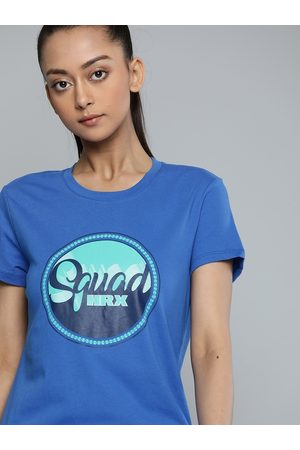 HRX Women Strong Blue Solid Bio-Wash Lifestyle T-shirt