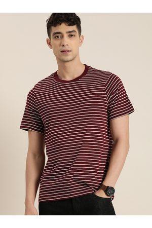 Invictus Men Maroon & White Striped Round Neck Pure Cotton T-shirt