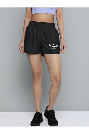 HRX Women Jet Black Solid Rapid-Dry Antimicrobial Running Shorts