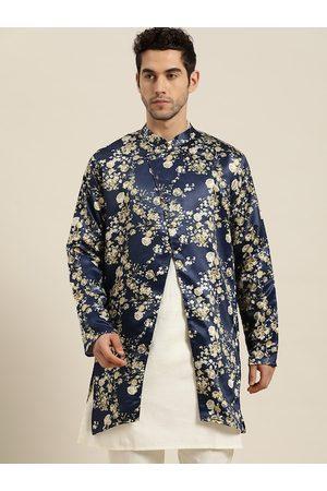 SOJANYA Men Navy & Green Floral Print Longline Tailored Jacket
