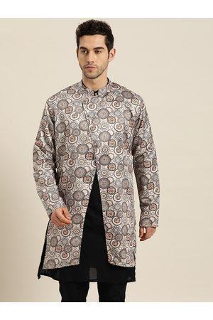 SOJANYA Men Off-White & Black Ethnic Print Longline Tailored Jacket