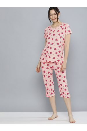 HERE&NOW Women Peach-Coloured & Multicoloured Printed Night suit