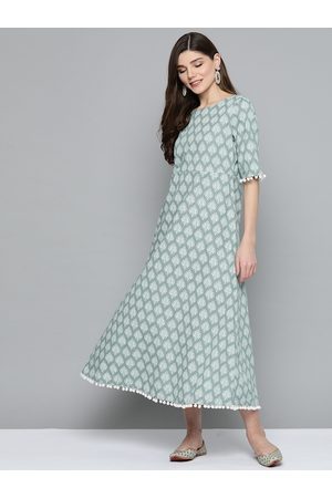 HERE&NOW Women Green & Off-White Printed Maxi Pure Cotton Dress