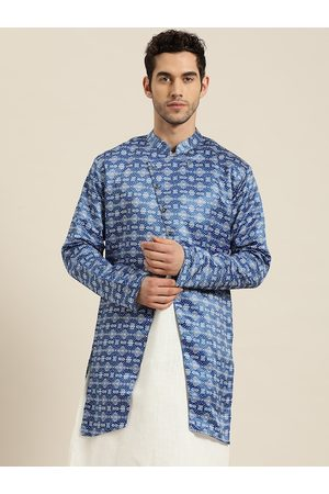 SOJANYA Men Blue & White Ethnic Print Longline Tailored Jacket