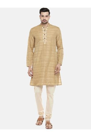 Pantaloons Men Gold-Coloured Woven Design Kurta