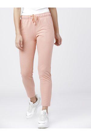 Tokyo Talkies Women Rose Pink Solid Slim-Fit Casual Track Pants