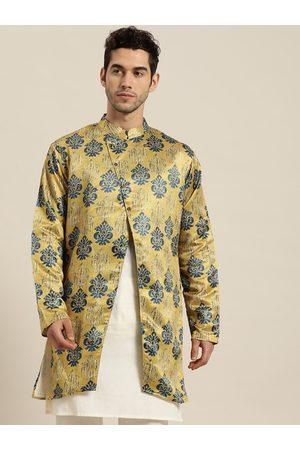 SOJANYA Men Mustard Yellow & Blue Ethnic Print Longline Tailored Jacket