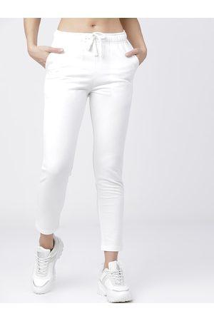 Tokyo Talkies Women White Solid Slim-Fit Track Pants