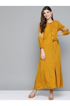HERE&NOW Women Mustard Solid Maxi Dress