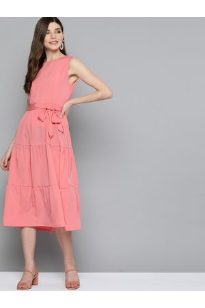HERE&NOW Women Pink Solid A-Line Tiered Dress