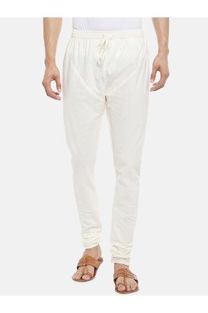 Pantaloons Men Off-White Solid Straight-Fit Churidar