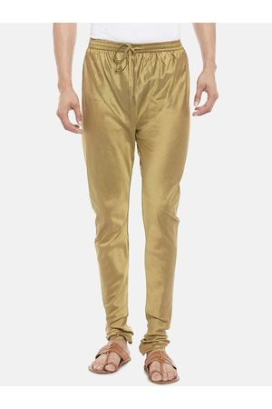 Pantaloons Men Gold-Coloured Solid Straight-Fit Churidar