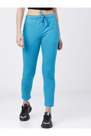 Tokyo Talkies Women Turquoise Blue Solid Slim-Fit Track Pants