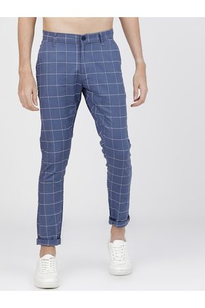 Highlander Men Blue Slim Fit Checked Regular Trousers