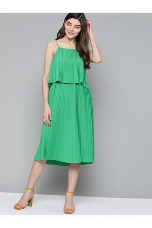 HERE&NOW Women Green Solid Acordian Pleats A-Line Dress
