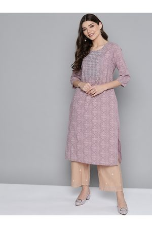 HERE&NOW Women Purple & Mauve Geometric Pure Cotton Yoke Design Thread Work Kurta