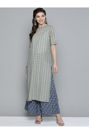 HERE&NOW Women Grey & Blue Checked Pure Cotton Kurta with Palazzos