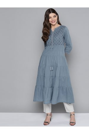 HERE&NOW Women Blue Ethnic Motifs Yoke Design Pure Cotton Thread Work Tiered Kurta