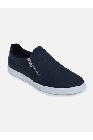 Aldo Men Navy Blue Woven Design Leather Slip-On Sneakers