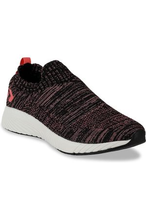 Hummel Women Black & Pink Woven Design Slip-On Sneakers